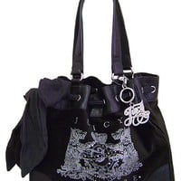 Juicy Couture Scottie Bling Daydreamer Tote Handbag Purse ~ Black In Color