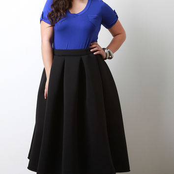 Scuba Box Pleated A-Line Skirt