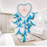 Blue Feathers Handmade Dream Catcher Wall Hanging Net with Feather Bead