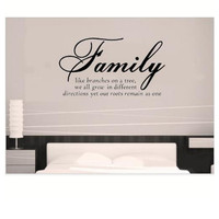 family like branches home decor creative quote wall decals decorative adesivo de parede removable vinyl wall stickers