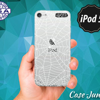 Spider Web White Pattern Spooky Halloween Inspired Scary New Rubber Transparent Clear Case For iPod Touch 5th Generation iPod Touch 6th Gen