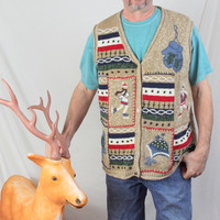 Ugly Christmas Sweater Vest 2x size Ice Skaters Mittens Beenies Mens Womens Hats