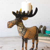 Recycled Metal Moose Candle Holder