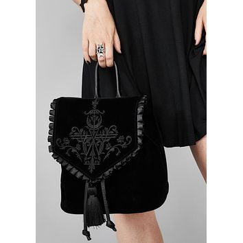 Black New Gothic Velvet Embroid Mini Backpack Dark Metal Witch Copslay