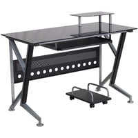Black Glass Computer Desk with Pull-Out Keyboard Tray and CPU Cart