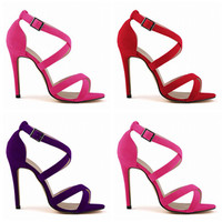 Summer Fashion  Crisscross Buckle Band Scrub Exposed Toe Sandals Women Heels Shoes