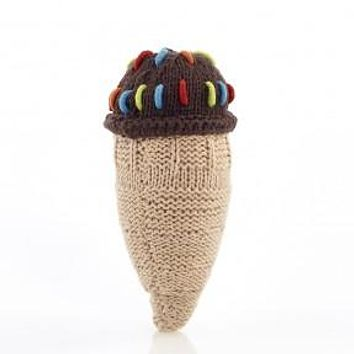 Chocolate Ice Cream Cone Knitted Baby Rattle - Fair Trade