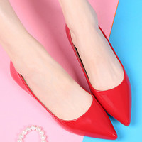 Solid Pointed Toe Ballet Flat Shoes