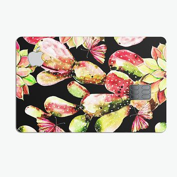 Watercolor Cactus Succulent Bloom V5 - Premium Protective Decal Skin-Kit for the Apple Credit Card
