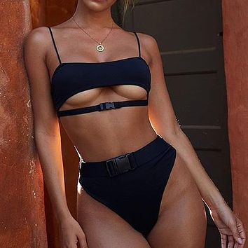 Sexy Bikini Micro Bikinis Highcut Swimwear Women Biquini Buckle Swimsuit Solid Bathing Suit Beach Wear Swim Suit