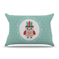 """Daisy Beatrice """"Hipster Owlet Mint Coral"""" Teal Pillow Case"""