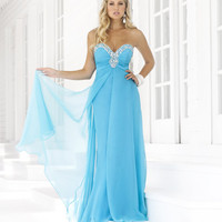 Aqua Chiffon Rhinestone Strapless Sweetheart Prom Dress - Unique Vintage - Homecoming Dresses, Pinup & Prom Dresses.