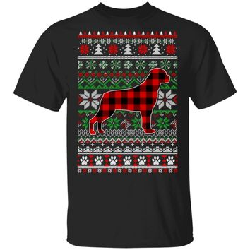 Rottweiler Red Plaid Ugly Christmas Sweater Gifts