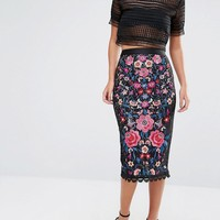 Oasis Embroidered Lace Pencil Skirt at asos.com