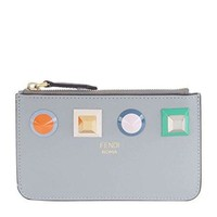 Fendi Large Studded Leather Key Pouch Gray Grey Cosmetic Leather Case New