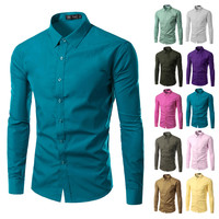 2016 Fashion Brand Mens Shirt Long Sleeve Camisa Masculina Men's Clothing Casual Dress Shirts Solid Color Work Wear Men 6492