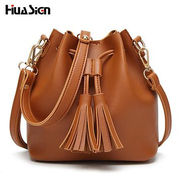 Huasign Bucket Shoulder Bag Women Pu Leather String Crossbody Bag Luxury Bags Famous Designer