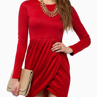 Red Long Sleeve Tulip Hem Mini Dress