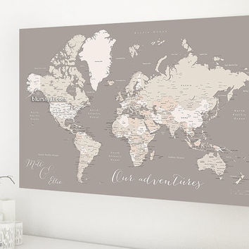Custom quote - World map canvas print, world map with cities, world map canvas travel pinboard, light earth tones canvas map. map141 123