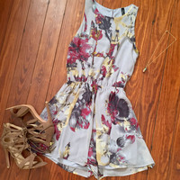A Floral Romper in Grey