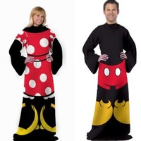 Disney Mickey Minnie Mouse Comfy Throws - 2 Fleece Costume Blankets W/sleeves