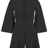 Eve Cut Outside Crochet Middle Flare Sleeve Playsuit