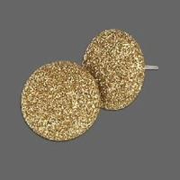 Gold Retro 80s Sparkly Disco Fabric Button Earrings