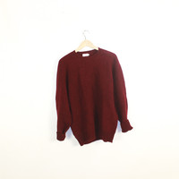 Retro sweater.  Oversized, slouchy vintage wool sweater. Slouchy pullover Crewneck. Burgundy. XLarge