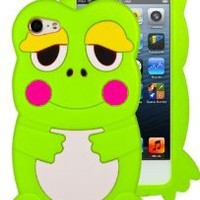 HHI Silicone Skin Case for iPod Touch 5th Generation - Green Cute Frog (Package include a HandHelditems Sketch Stylus Pen)