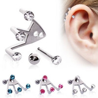 """316L Surgical Steel """"Trident Triple"""" Round CZ Cartilage Earring"""