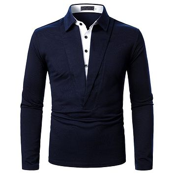 Men's Deep V Two-color Stitching Long Sleeve Shirts