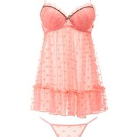 Leopard & Dotted Lace Chemise & Thong Set by Charlotte Russe - Coral