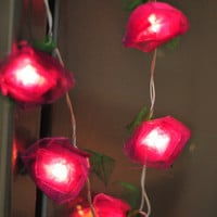 Beautiful string light rose flower purple color strand light decoration hanging lantern wedding party
