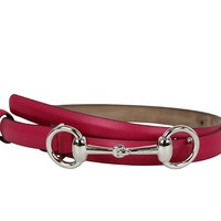 Gucci Women's Fuchsia Leather Horsebit Thin Skinny Buckle Belt 282349 5614 (85 / 34)