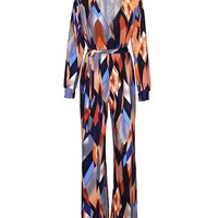 Casual Deep V-Neck Color Block Printed Straight Jumpsuit