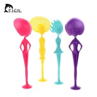 FHEAL Creative Can Stand Human Shape Lo Mein Spoon Long Handle Soup Scoop Noodles Colander Spoon Kitchen Cooking Accessorie