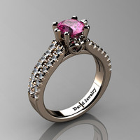 Classic 14K Rose Gold 1.0 Ct Pink Sapphire Diamond Solitaire Engagement Ring R1027-14KRGDPS