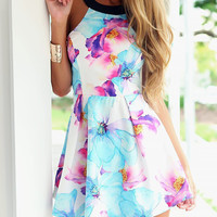 Multicolor Floral Print Strappy Back Skater Dress