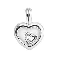 Fits for Pandora Charms Bracelets Floating Heart Locket Heart Beads 100% 925 Sterling Silver Jewelry Free Shipping