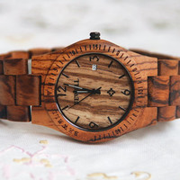 Wooden Watch For Women or Men Zebra Wood Date  Thin Watch Wrist Bracelet Quartz Vintage Watch With Calendar Round Dial Gift Waterproof
