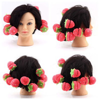 12x Strawberry Balls Hair Care Soft Sponge Rollers Curlers Lovely DIY Tool Personal Lovely Hair Styling Curlers Tools