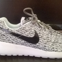 custom nike roshe yeezy boost 350 run sneakers athletic running womens gray/white color shoes as is or blinged with swarovski crystals