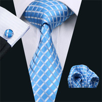 Men Tie Blue Plaid Silk Jacquard Classic Tie Hanky Cuff links Set Ties For Men Business Wedding Party