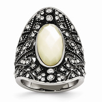 Stainless Steel Antiqued Crystal and Mother of Pearl Ring: RingSize: 6