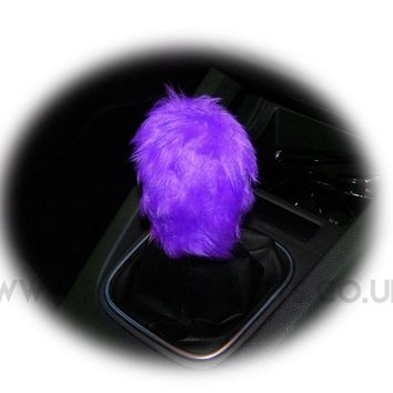 Fuzzy faux fur funky purple Gear knob cover