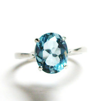 "Blue topaz, sky topaz ring, topaz ring, blue ring, birthstone topaz, solitaire ring,  s7 1/4   ""Downy Blue    """