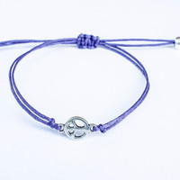 Peace Sign Bracelet made with Cotton Cord