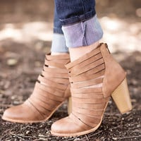 Step In Line Booties-Camel