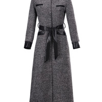 Gray PU Panel Belt Waist Maxi Woolen Coat