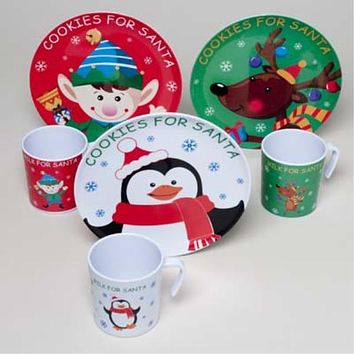 """cookies for santa"" melamine plates and mugs Case of 36"